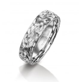 18ct White Gold Textured Surface Plain Wedding Ring