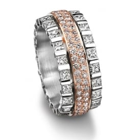 18ct White & Rose Gold 3.080ct Diamond Set Wedding Ring