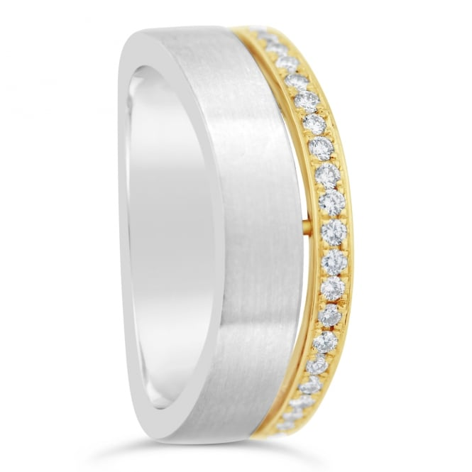 Furrer Jacot 18ct White & Yellow Gold Diamond Set Shaped Wedding Band