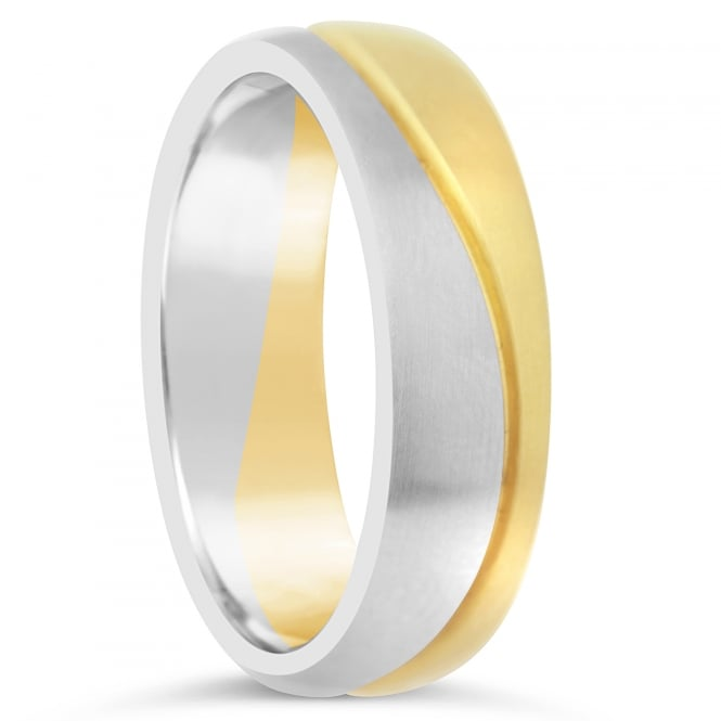 Furrer Jacot 18ct White & Yellow Plain Set Grooved Wedding Ring