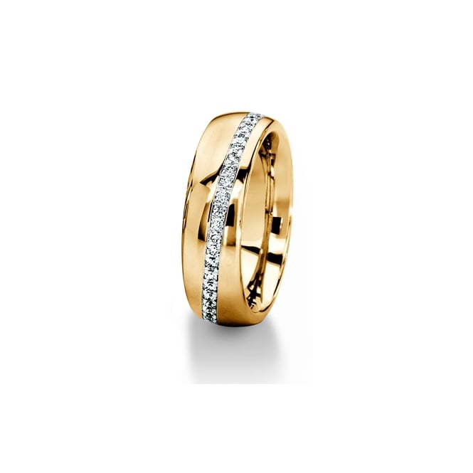 Furrer Jacot 18ct Yellow Gold 0.312ct Diamond Stripe Wedding Ring