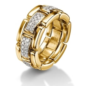 18ct Yellow Gold 0.70ct Diamond Set Collapsible Chain Wedding Ring