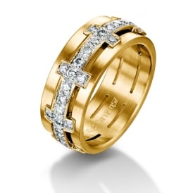 18ct Yellow Gold 1.04ct Diamond Set Chilli Wedding Ring