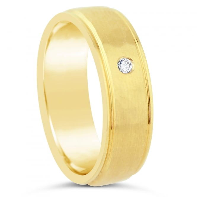 Furrer Jacot 18ct Yellow Gold 6mm 0.020ct Diamond Court Wedding Ring
