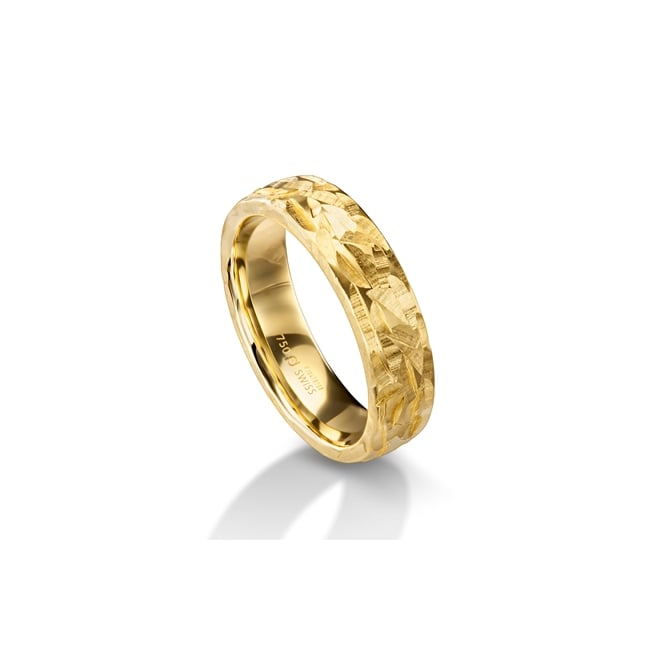 Furrer Jacot 18ct Yellow Gold 6mm Hammered Surface Wedding Ring