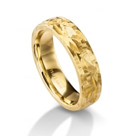 18ct Yellow Gold 6mm Hammered Surface Wedding Ring