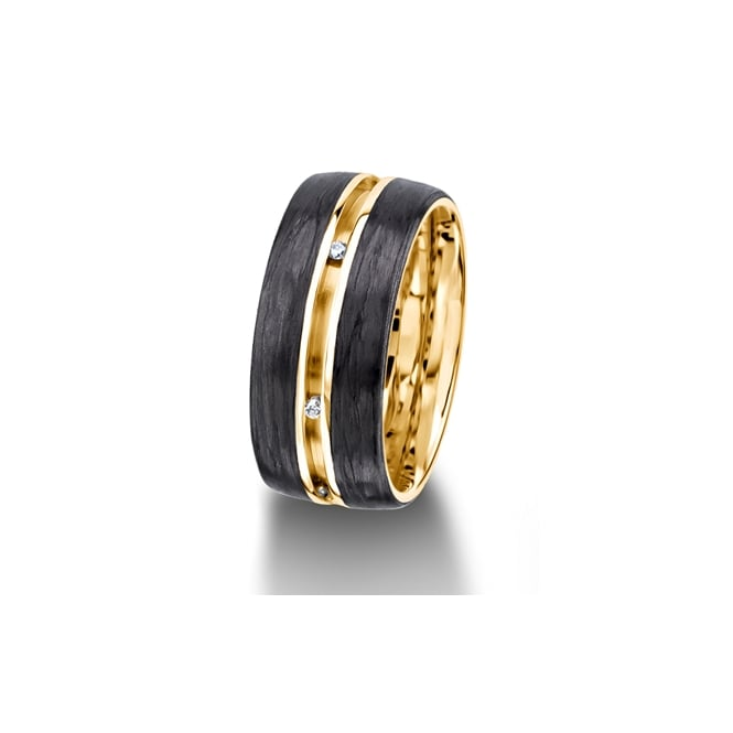 Furrer Jacot 18ct Yellow Gold & Carbon Fibre Fully Set 0.048ct Wedding Ring