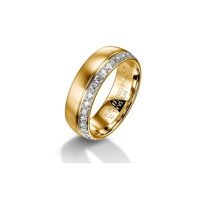 Furrer Jacot 18ct Yellow Gold Fully Set 0.480ct Diamond Court Wedding Ring