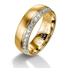 18ct Yellow Gold Fully Set 0.480ct Diamond Court Wedding Ring