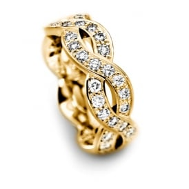 18ct Yellow Gold Fully Set 0.750ct Curved Wedding Ring