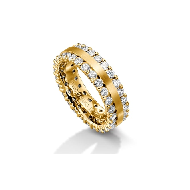 Furrer Jacot 18ct Yellow Gold Fully Set 2.100ct Double Row Diamond Ring