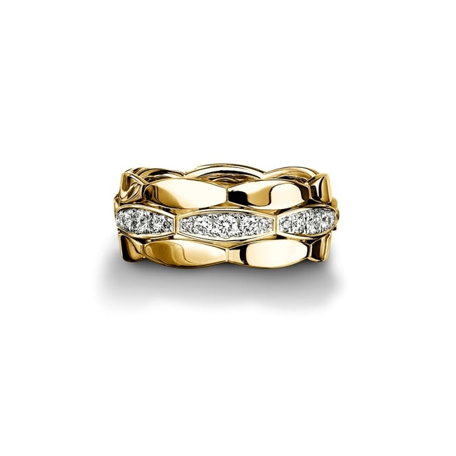 Furrer Jacot 18ct Yellow Gold Fully Set Diamond 0.672ct Shaped Wedding Ring
