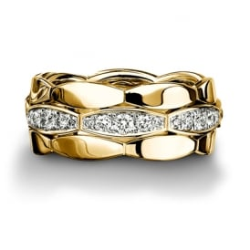 18ct Yellow Gold Fully Set Diamond 0.672ct Shaped Wedding Ring