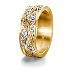 18ct Yellow Gold Patterned 1.55ct Fully Set Diamond Wedding Ring