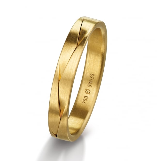 Furrer Jacot 18ct Yellow Gold Plain Set 3.5mm Wedding Ring