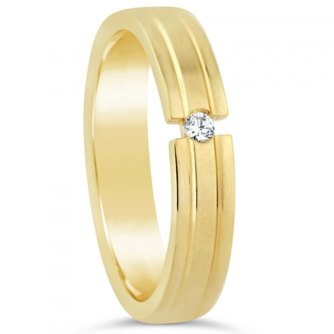 Furrer Jacot 18ct Yellow Gold Tension Set 0.030ct Diamond Wedding Ring