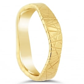 18ct Yellow Gold Textured & Shaped 5mm Wedding Ring