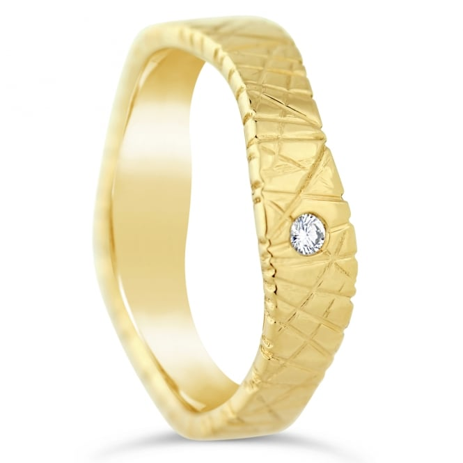 Furrer Jacot 18ct Yellow Gold Textured Single 0.030ct Diamond Shaped Wedding Ring