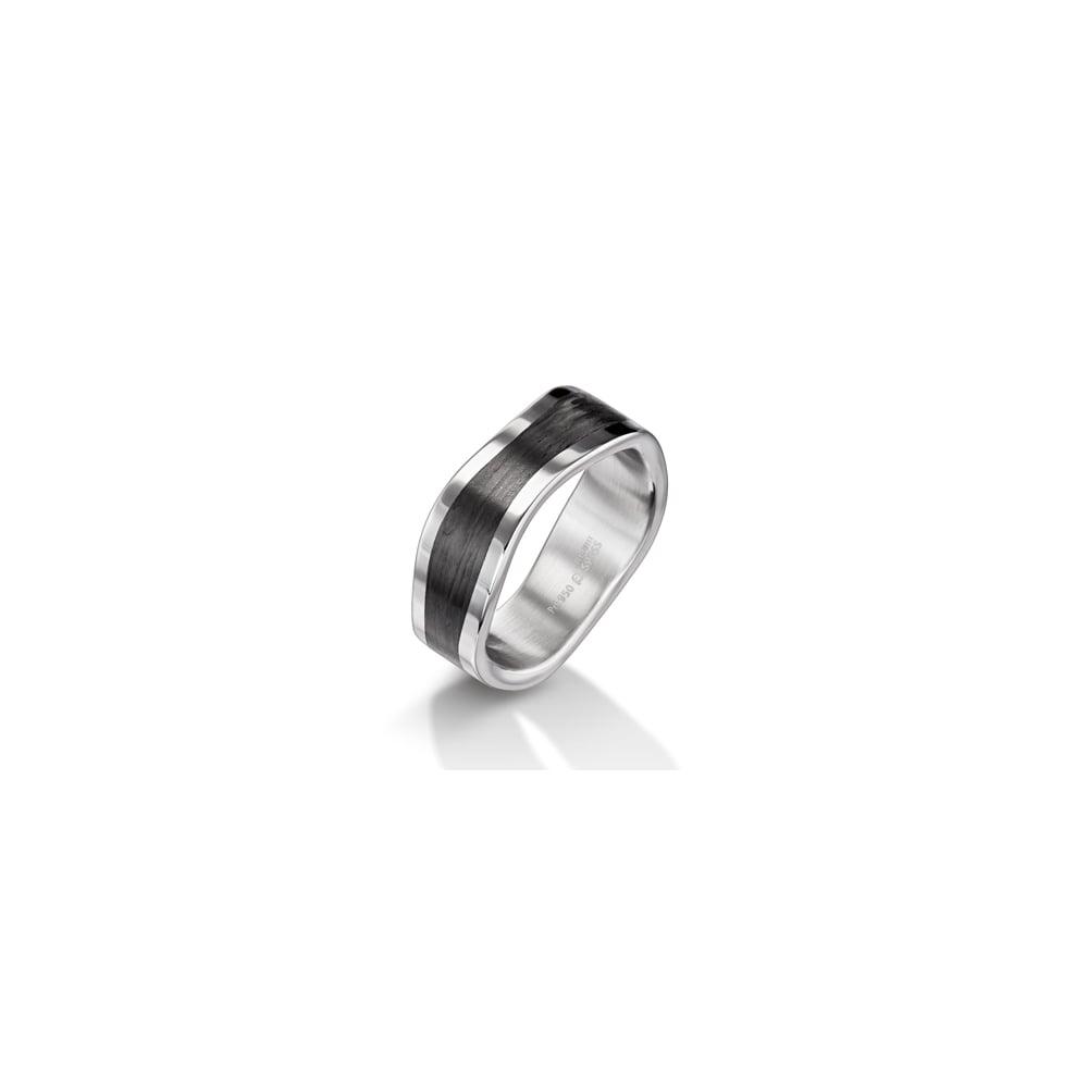44abf24fb4c 8mm Palladium   Carbon Fibre Shaped Wedding Ring