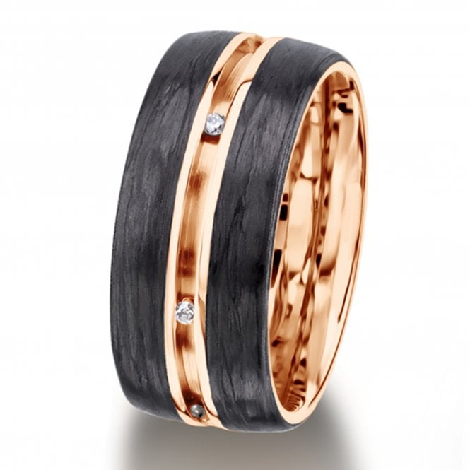 Furrer Jacot Carbon Fibre & Diamond Ring with Central Groove Detail