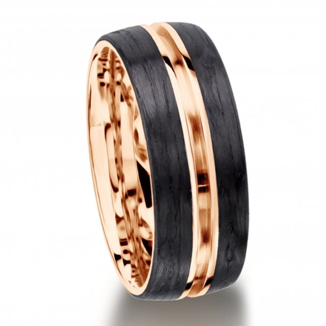 Furrer Jacot Carbon Fibre Ring with Central Groove Detail