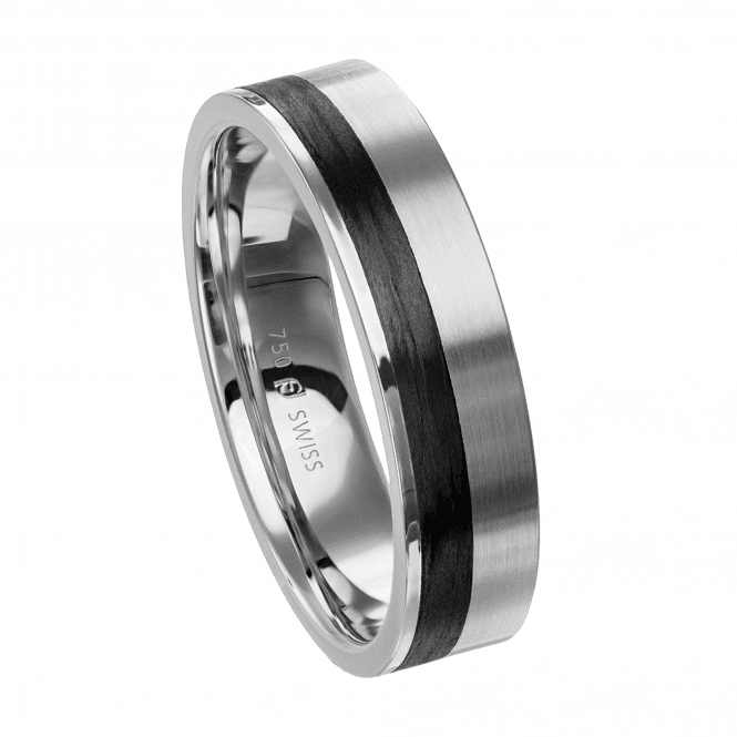 Furrer Jacot Carbon Fibre Ring with Offset Stripe Detail