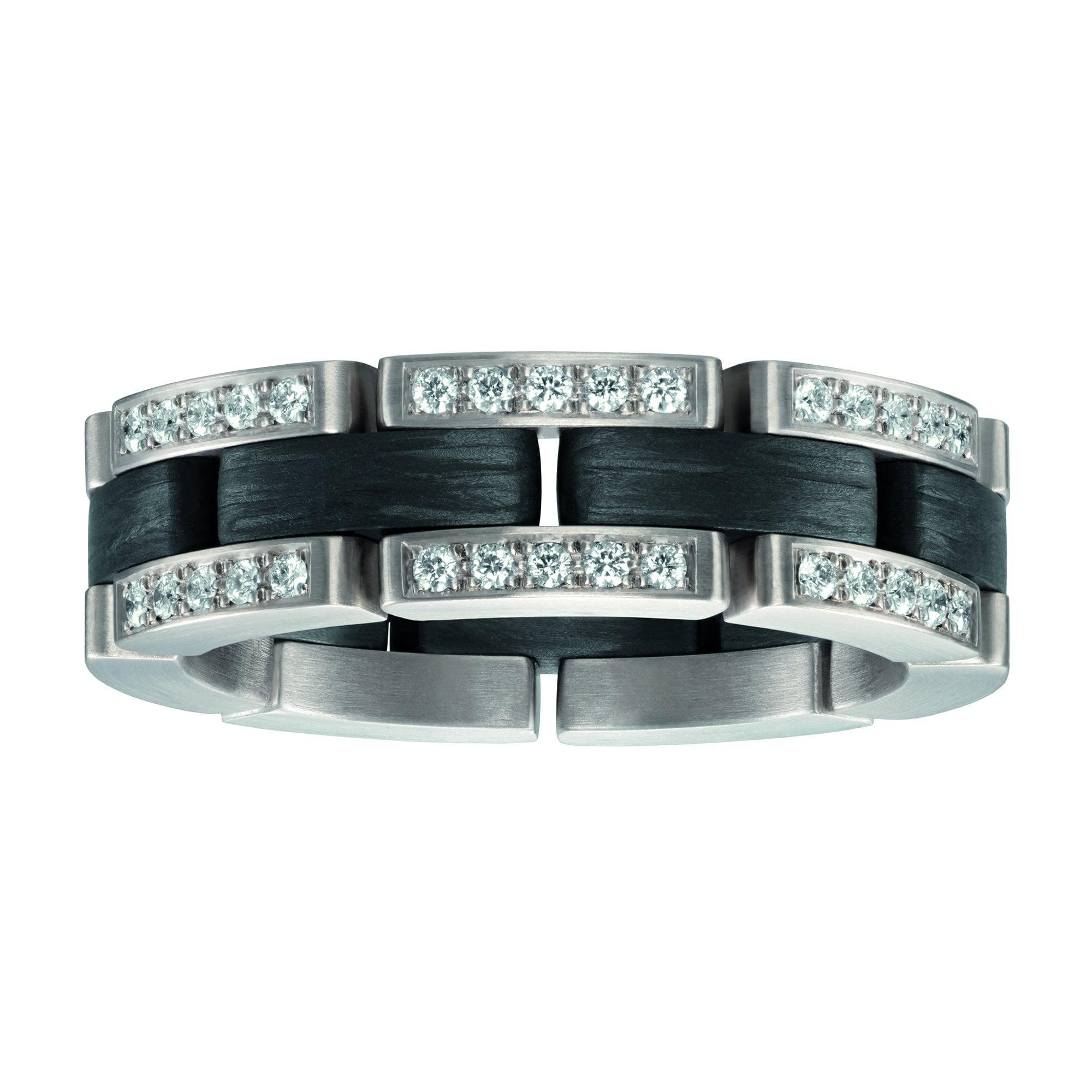 Furrer Jacot Flexible Link Ring With Carbon Fibre Diamonds