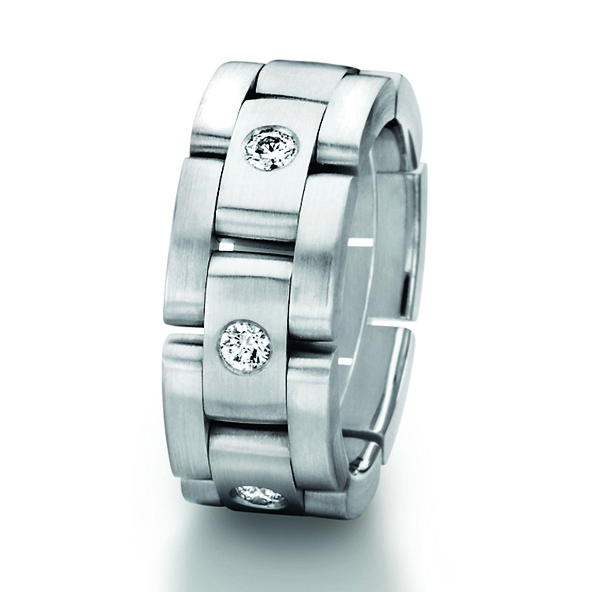 Furrer Jacot Flexible Link Ring With Diamonds Wedding Rings