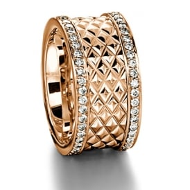 Mens 18ct Rose Gold 0.900ct 11mm Patterned Wedding Ring