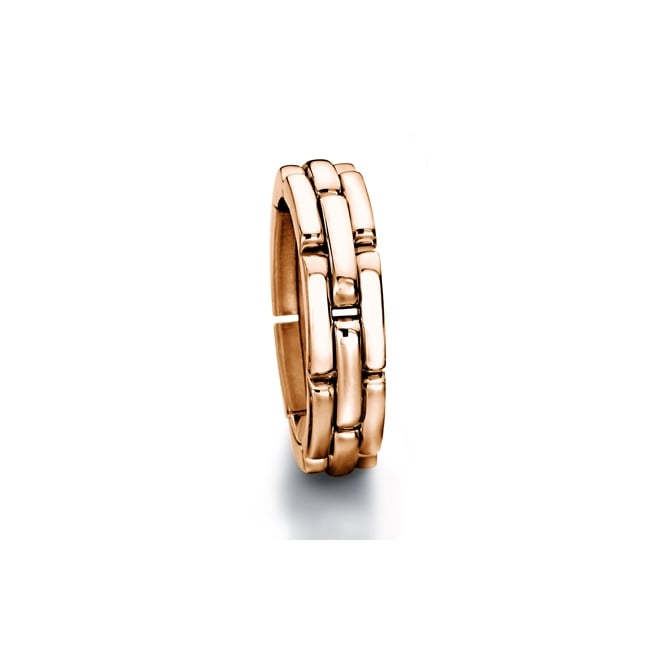 Furrer Jacot Mens 18ct Rose Gold 8mm Chain Style Wedding Ring