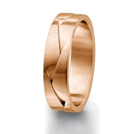 Mens 18ct Rose Gold 8mm Patterned Wedding Ring