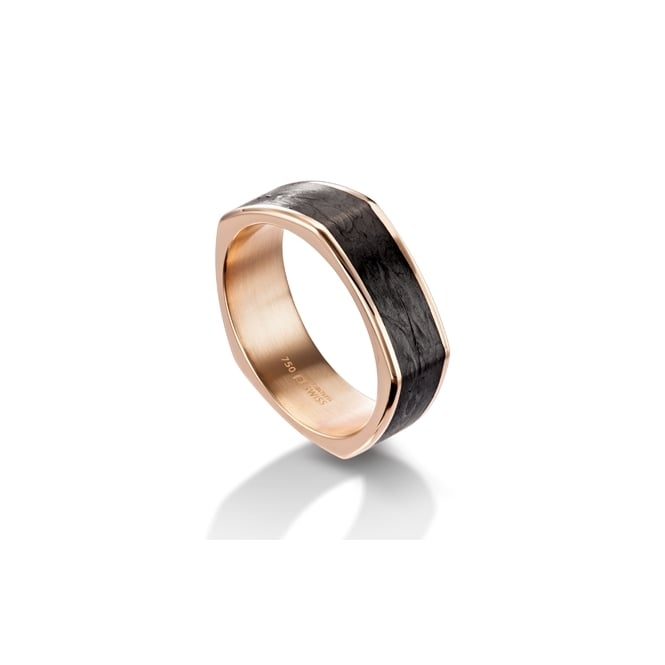 Furrer Jacot Mens 18ct Rose Gold & Carbon Fibre Shaped Wedding Band