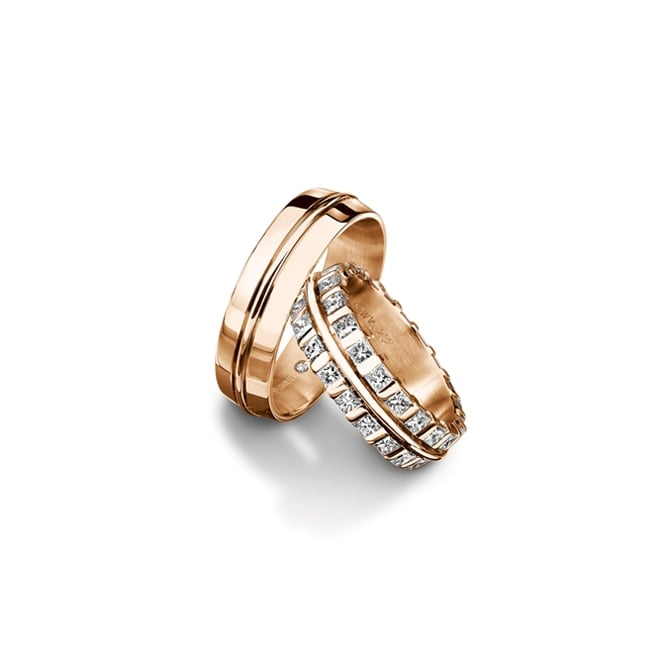 Furrer Jacot Mens 18ct Rose Gold Plain Set Court Wedding Band