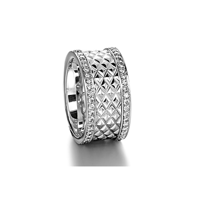 Furrer Jacot Mens 18ct White Gold 0.900ct 11mm Patterned Wedding Ring