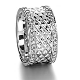 Mens 18ct White Gold 0.900ct 11mm Patterned Wedding Ring