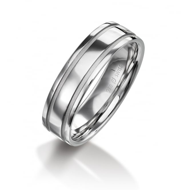 Furrer Jacot Mens 18ct White Gold 6mm Court Wedding Ring