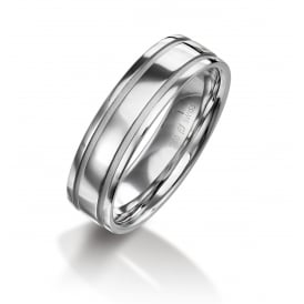 Mens 18ct White Gold 6mm Court Wedding Ring