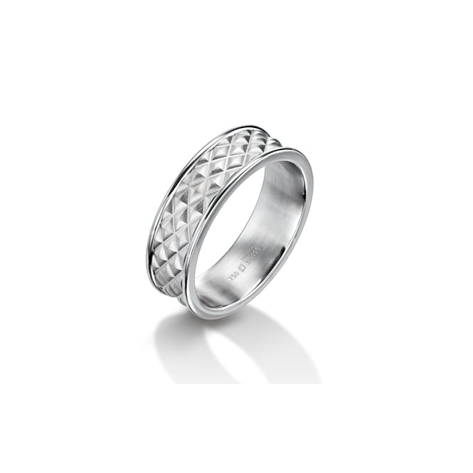 Furrer Jacot Mens 18ct White Gold 7mm Textured Wedding Ring