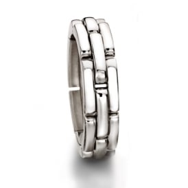 Mens 18ct White Gold 8mm Chain Style Wedding Ring
