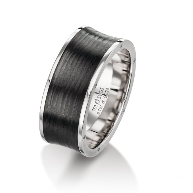 Furrer Jacot Mens 18ct White Gold & Carbon Fibre 8mm Wedding Ring