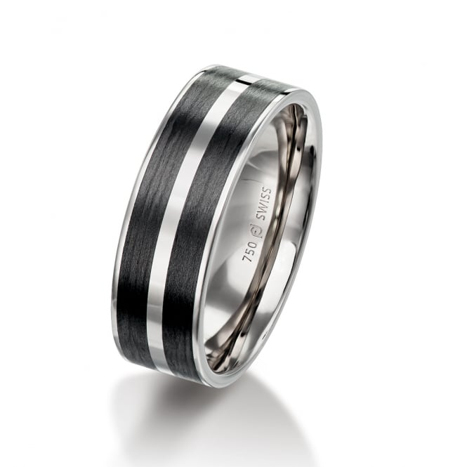 Furrer Jacot Mens 18ct White Gold & Carbon Fibre Patterned 7mm Wedding Ring