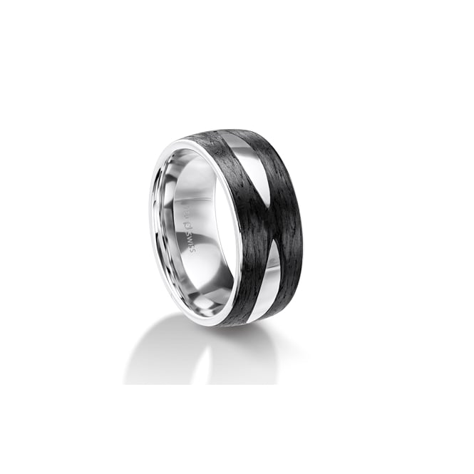 Furrer Jacot Mens 18ct White Gold & Carbon Fibre Patterned Wedding Ring