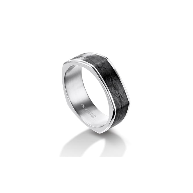 Furrer Jacot Mens 18ct White Gold & Carbon Fibre Shaped Wedding Band