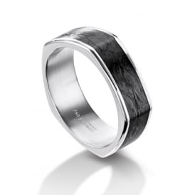 Mens 18ct White Gold & Carbon Fibre Shaped Wedding Band