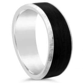 Mens 18ct White Gold & Carbon Fibre Shaped Wedding Ring