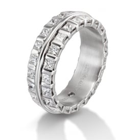 Mens 18ct White Gold Fully Set 2.20ct Wedding Band