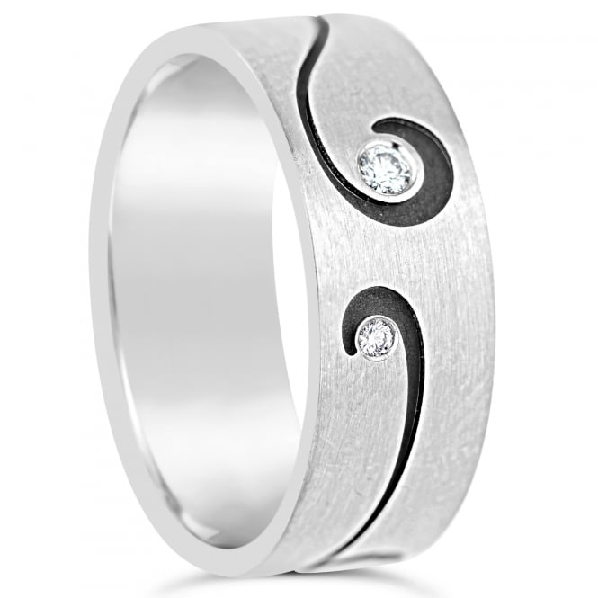 Furrer Jacot Mens 18ct White Gold Patterned 0.040ct Diamond Set Wedding Band