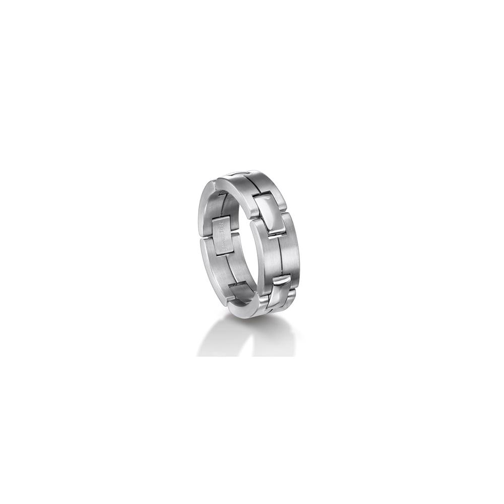 Mens 18ct White Gold Plain Set Linked 7mm Wedding Ring