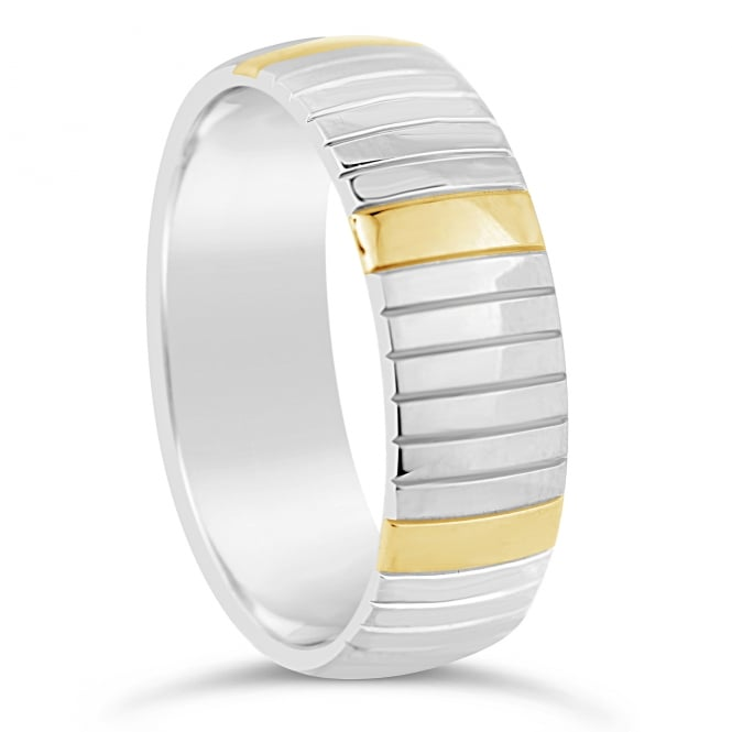 Furrer Jacot Mens 18ct White & Yellow Gold 7mm Court Ring