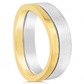 Mens 18ct White & Yellow Gold Plain Shaped Wedding Band